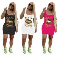 Wholesale Summer Womens Dresses Fashion Vest Print Letter Lips Casua Sexy Dress Slim Midi Dresses DHL