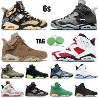 WITH TAG 2021 Nike Air Jordan Retro 6 6s Basketball Shoes VI Travis Scott x British Khaki Carmine Cactus Jack Jumpman Hare Mens Women Trainers Sneakers 40-47