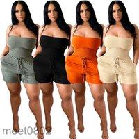 Kadın Tulum 2021 Yaz Yeni Tasarımcı Moda kadın Düz Omuz Göğüs Sarılı Baggy Şort Tek Parça Pantolon Katı Renk Ince Rahat Tulum