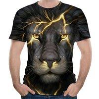 Maglietta grafica da uomo 3D Digitale T-shirt divertente T-shirt Ragazzi modello fai da te Pattern Streetwear Tees traspirante Top casual con modello di leone all'ingrosso Dimensione EUR