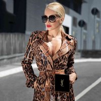 Women's Trench Coats High quality of the retro leopard women patent printing washed leather elegant lapel long sleeve sexy jacket with thin coat BYGF