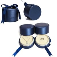 Blue Brushed Belt Ribbon Jewelry Packaging Box Proposal Ring Gift Necklace Storage Pouches, Bags