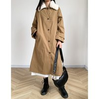 Women's Trench Coats 2021 Autumn And Winter Solid Color Collar Long-sleeved Breasted Coat Loose Thin Fashion Casual Women
