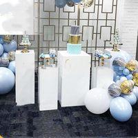 Party Dekoration 4 teile / satz) Top Verkauf Zeremonie weiße mentale Sockel Säule Blumenständer Hochzeit Hintergrund Yudao1148