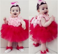 Pink and Red Flower Girls Desses With Big Bow 3D Floral Appliques Ball Gown Toddlers Pageant Gowns For Wedding PartyFlower Girl Dresses