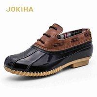 Jokiha إمرأة اثنين من لهجة الكاحل المطر أحذية بطة مع ماء عارضة الأحذية السيدات أزياء الشقق أكسفورد D9WD #