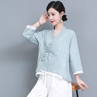 Ethnic Clothing Chinese Style Women Vintage Cotton Linen Qipao Tops Hanfu Shirt Oriental Tang Suit Blouse Cheongsam Top 30887