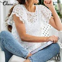 Frauen Blusen Hemden 2021 Mode Spitze Stickerei Sommer Tops Celmia Frauen Elegante Weiße Bluse Kurzarm Sexy Aushöhlen Weibchen Plus