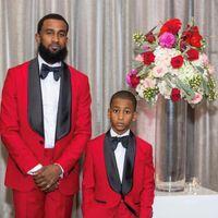 Black Shawl Lapel Red Wedding Tuxedos Groom Suits For Man Boys Child Blazer Costume Homme 2Piece Slim Fit Terno Masculino Men's & Blazers