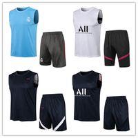 Homens adultos 21 22 22 Treinamento de futebol tracksuit de futebol terno colete 3/4 calças kits 2021 2022 mens real madrid sem mangas tracksuits chandal jogging