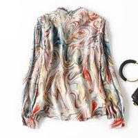 2021 Primavera de manga larga PULLOVER Cuello redondo Patrón de paisley Natural Real Seda Soie Paneleled Soie Blusa elegante Casual Camisa camisas 21m271909