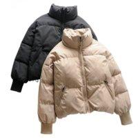 Women Solid Overcoats Khaki Oversize Parkas Thick Warm Jackets 2021 Winter Zipper Pockets Female Warm Elegant Coat Jacket