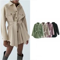 Women Casual Mid-length Shirts Jacket High Waisted Dress with Belt