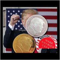 Arts And Arts, Crafts Gifts Home & Garden Drop Delivery 2021 President Donald Trump Gold Plated Coin - Make America Great Again Commemorative
