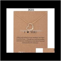 & Pendants Jewelry Drop Delivery 2021 12 Styles Dogeared Choker Necklaces With Card Gold Circle Elephant Pearl Love Wings Cross Key Pendant N