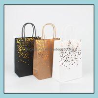 Event Festive Party Supplies Home & Gardenblack Stam Handbag Wrap Tote Card Bag Fashion Kraft Paper Gift Packaging Green Shop Bags Gwa7045 D