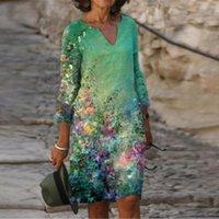 Винтажные женщины Sundress V-образным вырезом половина рукава A-линии печатные платья повседневная мода летние женские свободные дамы Vestidos