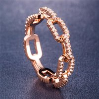 Creative Chain Ring Zircon Wedding Ring for Women Silver Rose Gold Copper Rhinestone Ring Popular Engagement Jewelry women