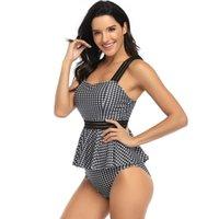 One-Piece Suits Bikini Skirt Swimwear Women Swimsuit Ruffles High Waist Two Piece Cute Beachwear Swimming Bathing Suit Surfing Split