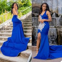 Royal Blue Prom Dresses V Neck Sheath Satin Sweep Train Lace Applique Side Slit Beaded Sexy Backless Custom Made Evening Party Gown vestidos Formal Cocktail Wear