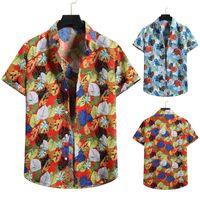 Men's Casual Shirts Summer Men Printed Shirt Short Sleeve Turn-down Collar Streetwear Leisure Mens Hawaiian Loose 2021 Vacation Floral Print