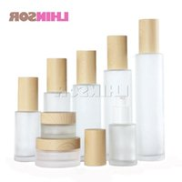Storage Bottles & Jars 5pcs lot Wood Grain Cover Frosted Glass Spray Press Pump Bottle Lotion Cream Empty Cosmetic Packing Containers