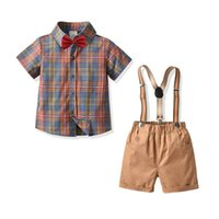 Baby Clothing Sets Boys Suits Children Outfit Kids Clothes Summer Gentleman Plaid Bow Tie Short Sleeve Shirts Suspenders Shorts Pants Birthday B7279