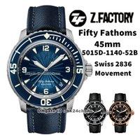 ZF Fábrica Relojes 5015D-1140-52B Cincuenta Fathoms 45mm Acero Swiss ETA 2836 Autoamtic Mens Watch Sapphire Bezel Bllue Dial Lienzo Correa Deportes Gents Relojes de pulsera