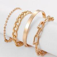 Link, Chain DIEZI Hip Hop Punk Bracelets Set For Women Men Gold Silver Color Metal Wide Cuff Bangles Bracelet 2021 Jewelry