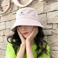 Hats Bucket Hat Green Avocado Fisherman's Female Autumn Winter Embroidery Versatile Corduroy Big Brim Basin Travel Warm Tide{category}