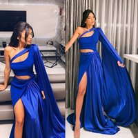 Stylish Blue ALine Prom Dresses With Wrap One Shoulder Long Sleeves Evening Dress Satin Pleated Formal Party Wear