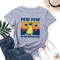 Pew Madafakas Puesta de sol Funny Cat Graphic Tee Tops Mujeres de manga corta CREWNECK T-SHIRTS T-shirts Camiseta de ropa femenina Top Camiseta de las mujeres