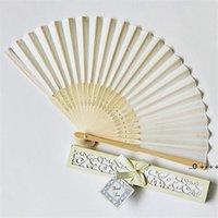 15 colori Ventilatori di cerimonia nuziale personalizzati Testo di stampa su tifosi di seta Ventilatori a mano con confezione regalo Bomboniere e regali LLD11278