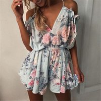 Deep V Neck Boho Womens Romper Beach Vacation Bodysuit Fashion Ruffles Playsuit Loose Sexy Short Jumpsuit Casual Outfits