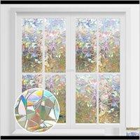 Наклейки Décor Home Drop Garden Drop Доставка 2021 3D Конфиденциальность Декоративные Стекло Радуга Эффект Наклейка Клей Винил на Съемный Окна Обложка