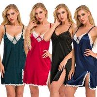 Women's Sleepwear Lingeries Lace Deep-V Neck Sleeveless Sling Mini Dress Lingerie Sleepwears Nightdress SN-Hot