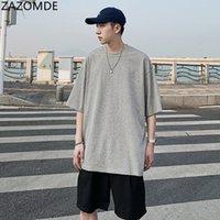 Zazomde verano color sólido camiseta para hombre moda casual algodón camiseta hombres calle streetwear salvaje suelto camiseta de manga corta para hombre M5XL