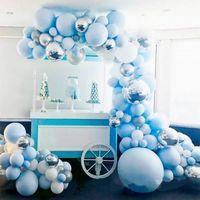 Party Decoration 141pcs Macaron Metal Balloon Garland Arch Blue Silver Foil Balloons Event Wedding Birthday Baby Shower Decor