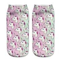 Impresión de las medias de la moda Motion 3D 3D lindos calcetines cortos adultos unicornio de dibujos animados de dibujos animados sock individualidad 2 1GL O2