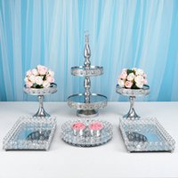 5-6pcs French Silver Color Dessert Table Decoration Wedding Dessert Decoration Display Stand Cake Plate Metal Crystal Tray