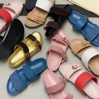 디자이너 여성 슬라이드 샌들 Bom Dia Flat Mule Slipper 특허 캔버스 남성 비치 고무 밑창 Sizze 35-46 함께 여름 플립 플롭