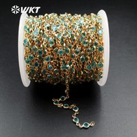 WT-RBC033 WKT Wholesale High Quality Coming Natural Aqua Crystal Beads Jewelry Rosary Necklace Chain Chains