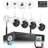 Vidéo 5MP / 3MP CCTV Système sans fil HDD Accueil Enregistrement audio H.264 + Outdoor P2P WiFi Caméra de sécurité IP Set de surveillance de la rue Kits de surveillance de la rue