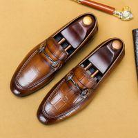 Повседневная обувь JHOO PINDUOOOOO Мужской кожаный крокодил модный образец Doudou Brand Wife Custom Shoes 46S8