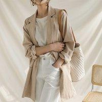 Women's Suits & Blazers Fall of Genho from Cannabis Sense Single Design Thin Style Simple Blazer Khaki Bege Office 69GE