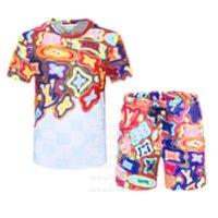 2021 Moda Erkek Eşofman Tasarımcılar Erkekler Eşofman Seti erkek Kısa Kollu Mektup Ince Giyim Koşu Parça Kiti Rahat Spor Suit M-3XL