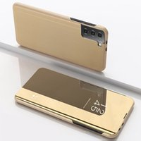 Leather Full View Mirror Cases for Galaxy A52 A72 A42 A32 4G 5G Plating Phone Back Cover on Samsung S20 S21 FE Plus Ultra