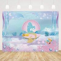 180x110cm Little Sirena Fondo de fiesta bajo la fiesta del mar Fondo de fotografía Niños Decoraciones de fiesta de cumpleaños Baby Shower 210408
