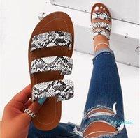 Summer Women Sandals Designers 2021 Open Toe Flat Heel Slip on Leopard Sandalias Mujer Size 37-42 --