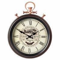 Grande Relógio de Parede Retrô Moderno Design Americano Country Metal Clocks Home Decoração Sala de Livro Decoração Mecanismo Presente Idéias